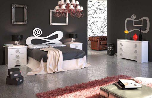 Dormitorio Matrimonio de Forja Hellen con Cómoda y Espejo